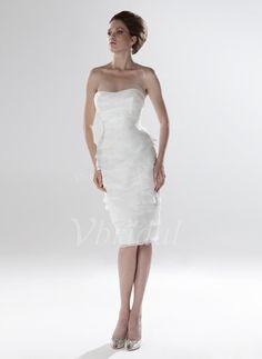 Bruidsjurken - $119.98 - Nauwaansluitend Strapless Sweetheart Knielengte Organza Satijn Bruidsjurk met Roes Kant Kralen (00205001619)