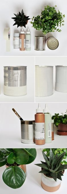 upcycling coffee tins into planters