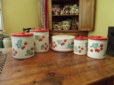 1950s Vintage Red Cherries Metal Cake Carrier Canisters Kitchen Set | eBay