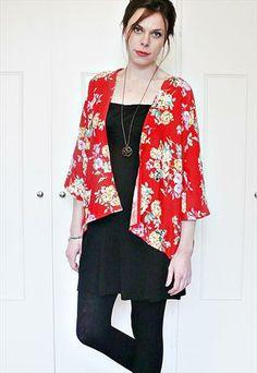 Short red floral kimono jacket