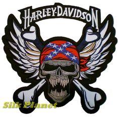 Tête de Mort Rebelle Skull Harley Davidson Gilet Biker Patch Ecusson Emblem XL: