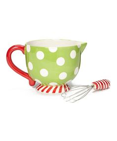 Take a look at this Green Holiday Mixing Bowl & Whisk by Dennis East International on #zulily today!