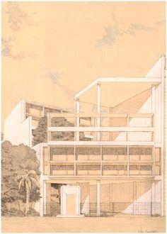 Villa Currutchet (by Takuro Yamamoto) Architectes Zaha Hadid, Yamamoto, Tattoo Drawings, Comic Art, Perspective, Villa, Thesis, Architects, Illustration