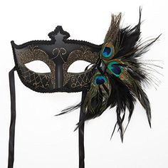 Black Venetian Half Feather Mask *** You can find more details by visiting the image link.
