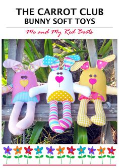 The Carrot Club Bunny Softies. This is a digital PDF e-pattern. Approx. 12 1/2in from the tips of their bunny ears to the tips of their bunny toes. Super-cute bunnies to make you smile! Easy and fun to make. Great for using your fabric scraps. All templates are full-size and do not need to be resized. Easy fusible applique techniques and simple sewing. ** PDF patterns are non-refundable due to the nature of the medium. Thank you for understanding. You will need a PDF reader such as Adob...