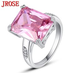 JROSE Women Fashion Jewelry Valentine's Pink White CZ Silver Color Ring Size 7 8 9 10 New Romantic Gift For Party Wholesale 2017