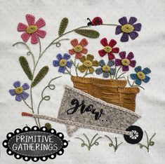 Farmhouse Threads Garden Mystery Stitch A Long-Grow Penny Rug Patterns, Wool Applique Patterns, Felt Patterns, Felt Applique, Applique Quilts, Applique Designs, Wool Quilts, Primitive Gatherings, Wool Embroidery