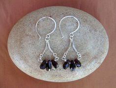 Garnet Earrings / January Birthday / January Birthstone / Delicate Red Drop Beaded Chandelier / Silver Wire Jewelry