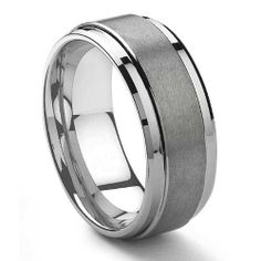 9mm Brushed Tungsten Band with Polished Edges