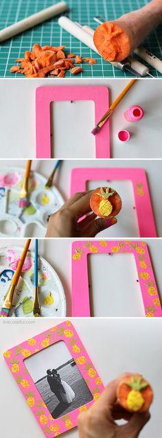 DIY: Pineapples Stamped Frame via Live Colorful