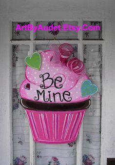 Valentine's Day Cupcake Door Hanger by ArtByAudet on Etsy