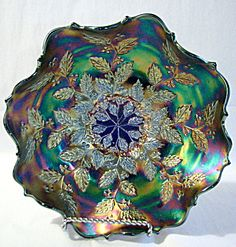 Fenton carnival glass blue holly bowl.