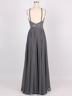 A-line Halter Floor-Length Chiffon Sleeveless Beaded Backless Grey Prom Dress Evening Gowns