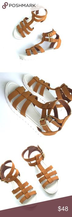 ASOS light brown gladiator sandals Worn once. Minor wear to soles. Super cute sandals. Sold by asos.com. Brand is qupid! 💛 Asos Shoes Sandals