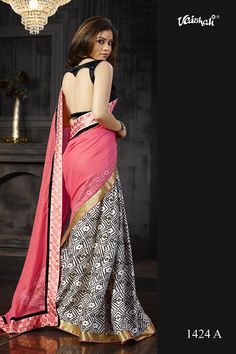♥ Taka ♥ Saree Code ♥ Material - Amazing embellished italian satin crepe ♥ Blouse - Unstitched & included ♥ ♥ Embroidered - A touch of embroidered border Designer Sarees Collection, Saree Collection, Simple Sarees, Chiffon Saree, India Beauty, Pink Fashion, Indian Dresses, Blouse Designs, Pink Color