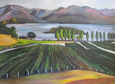 Pauline Gough: Mixed Media Art. www.artfind/... www.mangawhaiarti... © Pauline Gough. This image may not be reproduced or copied in whole or part without prior consent of the owner. All rights reserved. Wanaka Landscape - Acrylic