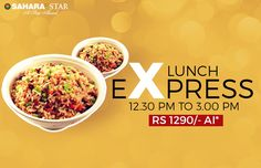 Our Express Lunch menu is a fusion of yummy and nonstop food.  With options to dine-in and take-away, it is just what you need when on the go! For reservations, call 02239807444 #ExpressLunch #Takeaway #SetMenu #PanAsian #SaharaStar #CSIAirport #Mumbai