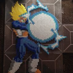 Dragon Ball Z Vegeta.perler pixel art by eightbitevolution