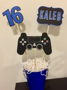 3 piece Playstation birthday party centerpiece with bamboo skewers included (1-8& 2-12.) It will come unassembled. Can make in blue or red. Please put in notes if you want red. Choose from the 2 options to put in the square: • Happy Birthday or •Personalize name If you choose to