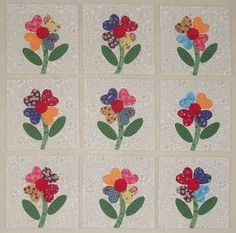 9 Bright and Cheery Flower Quilt Top Blocks   by MarsyesQuiltShop