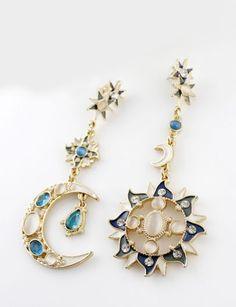 Blue White Gemstone Gold Moon Sun Star Earrings