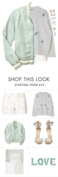 """""""Mint jacket"""" by genesis129 ❤ liked on Polyvore featuring Alice + Olivia, Gap, Gianvito Rossi, Thrive and vintage"""