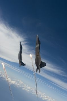 A United States Air Force (USAF) Raptor stealth fighter jet and a USAF Eagle fighter jet each pop one flare while going vertical over the Gulf of Mexico United States of America. This photograph was taken by USAF Staff Sgt. Harper on 27 August Military Jets, Military Aircraft, Fighter Aircraft, Fighter Jets, Air Fighter, Raptors Wallpaper, F22 Raptor, Staff Sergeant, Military Photos
