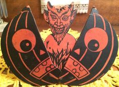 EXCEEDINGLY-RARE-Vintage-Halloween-Mechanical-JOL-Devil-Squeaker-Noisemaker