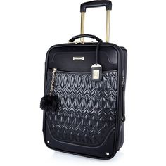 River Island Black quilted wheelie suitcase ($140) ❤ liked on Polyvore featuring bags, luggage, black, suitcase, bags / purses, make up bags / luggage and women