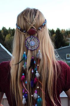 Three strand braids and my gorgeous dream catcher headband from Bohemian Hairstyles, Feathered Hairstyles, Messy Hairstyles, Hippie Braids, Hippie Headbands, Bohemian Headband, Hippie Hair, Hair Dos, My Hair