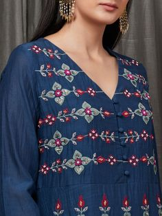 Buy Navy Blue Embroidered Cotton Silk Kurta with Magenta Pants- Set of 2 online at Theloom
