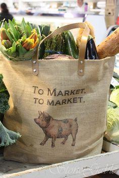 beautiful burlap market bag