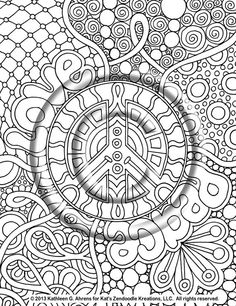 Instant PDF Download Coloring Page Hand Drawn by KatsLoveKreations, $2.80