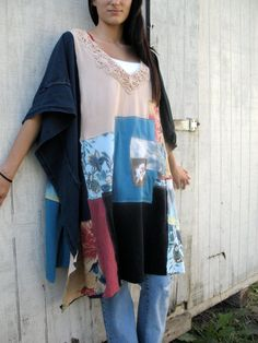 a romantic and sexy touch - wear it over a tank as a shirt or wear it alone - the front is embellished with tiny sequins. - i love taking something discarded and turning it into wearable art... using discarded tshirts i used a free style patchwork design to create the sleeves. * a fav in your closet for sure - one of those shirts you can grab and just throw on and go - and know you look cute. * color palette - creme brulee, blues, browns and reds made from various jersey knits that have...
