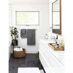 Shop Sedona Grey Bathroom Trash Can. Our tapered Sedona wastebasket takes care of the trash with loads of texture, handwoven of sturdy rattan and finished in warm grey. Due to its handcrafted nature, each trash can will be slightly unique. Bathroom Styling, Bathroom Storage, Bathroom Interior, Bathroom Organization, Bathroom Cleaning, Parisian Bathroom, Interior Walls, Bathroom Furniture, Bathroom Shelves