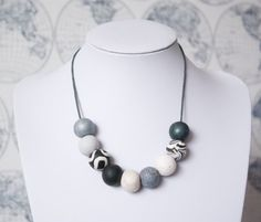 Kate Statement Necklace, Black and White Necklace, Chunky Bead Necklace, Statement Necklace, Monochrome Bead Necklace, Marble Bead Necklace