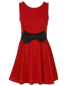 bow dresses | You are here: Chiara Fashion CLEARANCE Red Contrast Bow Skater Dress