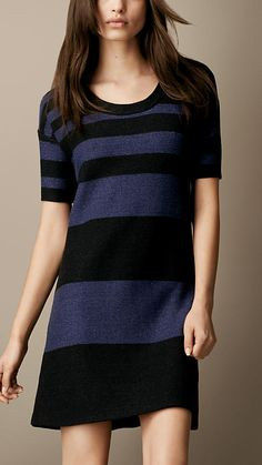 Burberry Brit Cotton Linen Striped Dress  (couple more inches and we're good)