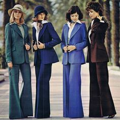 70s Polyester Trouser Suits.  Oh the funky 70's, everything from the hippie look, to disco designer look and in between.  Quite an unusual decade for fashion...