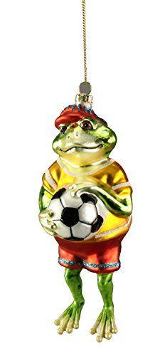 Frosch Christbaumschmuck mit Fussball Weihnachten 16x6x6,5 (42) Voss