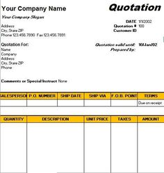 kitchen quotation template