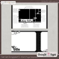 Get 'em Scrapped Set 5 - Double Page 8.5x11 Templates :: Gotta Pixel Digital Scrapbook Store