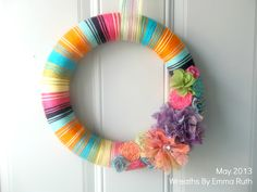Colorful Summer Wreath, perfect for parties, your front door, or even home decoration.  Made by Wreaths By Emma Ruth