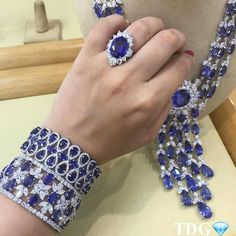 Blue magic indeed! sapphire and diamond pieces beautifully photographed live in Bahrain! High Jewelry, Jewelry Sets, Jewelry Accessories, Women Jewelry, Sapphire Jewelry, Diamond Jewelry, Diamond Necklaces, Push Gifts, Diamond Girl