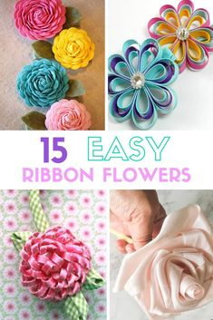 Create easy ribbon flowers with these step by step tutorials. Ribbon flowers are great for headbands, dre Create easy ribbon flowers with these step by step tutorials. Ribbon flowers are great for headbands, dresses, home decor and so much more! Flower Making With Ribbon, Diy Ribbon Flowers, Ribbon Flower Tutorial, Ribbon Rosettes, How To Make Ribbon, Ribbon Art, Fabric Flowers, Diy Crafts With Ribbon, Paper Flowers