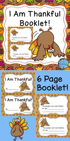 "Thanksgiving Writing Activity, Make an ""I Am Thankful"" Booklet with your class! Includes: 6 page booklet in color, 6 page booklet in black and white. Each child can make their own or make a class book. Kindergarten Teachers, Kindergarten Activities, Preschool Printables, Therapy Activities, Writing Activities, Thanksgiving Writing, Thanksgiving Activities, Holiday Activities, Thanksgiving Ideas"
