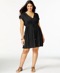Dotti Plus Size Hooded Drawstring Cover-Up (Black) - Macy's