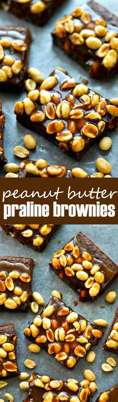 Peanut butter lovers are going to go NUTS for these peanut praline brownies! The fudgiest brownies ever topped with an addicting homemade peanut praline sauce.
