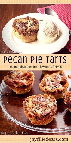 Gluten free - Grain free - Keto - Low carb - THM S - Sugar free - Pecan Pie Tarts - I love pecan pie. It is so rich I used to only make it once a year for Thanksgiving. But now with a sugar free, low carb, THM recipe so I can make it often. Sugar Free Pecan Pie, Sugar Free Desserts, Mini Desserts, Just Desserts, Low Carb Sweets, Low Carb Desserts, Low Carb Recipes, Diabetic Recipes, Healthy Recipes
