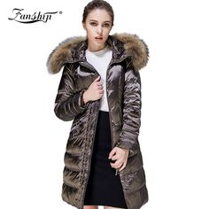 High Quality 100% Real Raccoon Fur Collar Women Winter Jacket Hooded Women Down Jacket Coat Long Section Women Winter Coat US $167.23 /piece To Buy Or See Another Product Click On This Link  http://goo.gl/IdJFhm